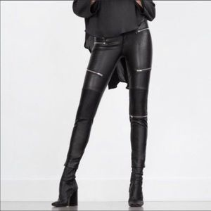 Zara Woman Faux Leather Moto Legging
